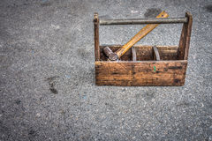 Vintage wooden toolbox Stock Photos