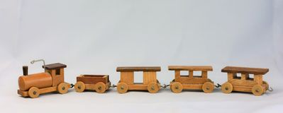Vintage Wooden Toy Train stock photo