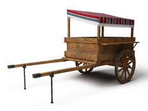 Vintage wooden trade cart with striped tilt Royalty Free Stock Image