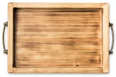Vintage wooden tray isolated on white background Royalty Free Stock Image