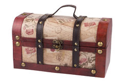 Vintage wooden treasure chest isolated Royalty Free Stock Photography