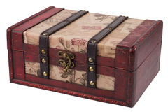 Vintage wooden treasure chest isolated Stock Images