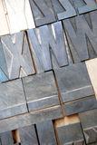 Vintage wooden type letters Stock Photo