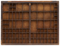 Vintage wooden typesetter case royalty free stock images