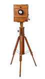 Vintage wooden view camera Stock Photos