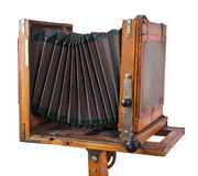 Vintage wooden view camera Stock Photo
