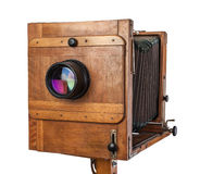 Vintage wooden view camera Royalty Free Stock Photo