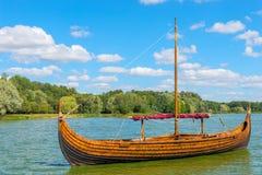 Vintage wooden Viking boat Royalty Free Stock Image