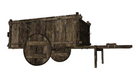 Vintage wooden wagon or cart - 3D render. Vintage wooden wagon or cart isolated in white background - 3D render royalty free illustration
