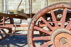 Vintage wooden wagon and spoked wheel Stock Image