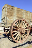 Vintage wooden wagon and spoked wheel Royalty Free Stock Images