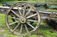 Vintage Wooden Wagon Wheel Royalty Free Stock Photography