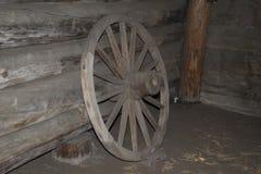 Vintage wooden wagon wheel. Stock Image