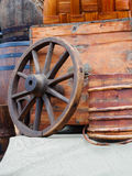 Vintage wooden wagon wheel and barrel Stock Photography