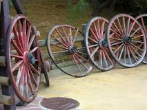 Vintage wooden wagon wheels royalty free stock image