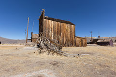 Vintage wooden wheelbarrow in Bodie Ghost Town Royalty Free Stock Images