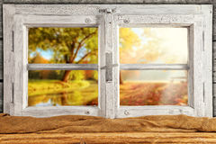 Vintage wooden window overlook autumn trees Royalty Free Stock Photography