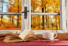 Vintage wooden window overlook autumn trees Stock Photo