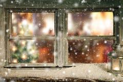 Vintage wooden window overlook home interior Stock Images
