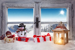 Free Vintage Wooden Window Overlook Winter Landscape. Stock Photo - 80161120