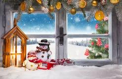 Vintage wooden window overlook winter landscape Stock Photos