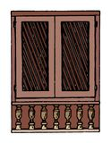Vintage wooden window with shutters in European style, hand painted illustration, sketch stock illustration