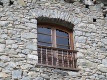 Vintage Wooden Window of a Stone Building in Andorra La Vella Stock Photo