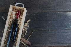 Vintage wooden wine case with bottle Stock Photo