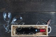 Vintage wooden wine case with bottle Stock Photos