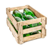 Vintage wooden wine crate filled with  bottles Stock Photography