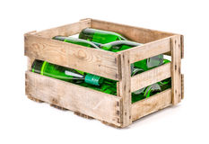 Vintage wooden wine crate filled with wine bottles stock image