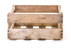 Vintage wooden wine crate. On a white background royalty free stock photos