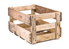 Vintage wooden wine crate on a white background Stock Image