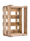 Vintage wooden wine crate on white Royalty Free Stock Photography