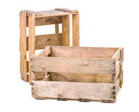 Vintage wooden wine crates Stock Photos