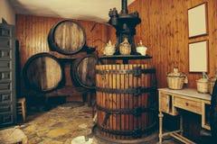 Vintage Wooden Wine Press Stock Photo