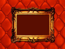 Vintage woodern frame on the leather backround Royalty Free Stock Photos