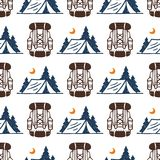 Vintage woods camp seamless pattern background travel hand drawn emblems nature mountain camp outdoor vector vector illustration