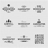 Vintage woodwork logotypes Royalty Free Stock Photo