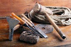 Vintage woodworking tools Royalty Free Stock Image