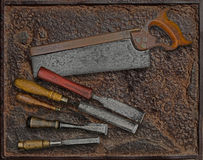 Vintage woodworking tools over plate Stock Image