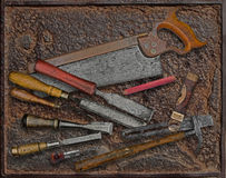 Vintage woodworking tools over rusty plate Stock Photo