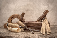 Vintage woodworking tools, stylized hdr image Stock Photography