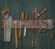 Vintage woodworking tools on a wall Royalty Free Stock Image