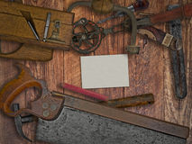 Vintage woodworking tools on wooden bench Royalty Free Stock Photography