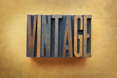 Vintage. The word VINTAGE written in letterpress type Stock Photography
