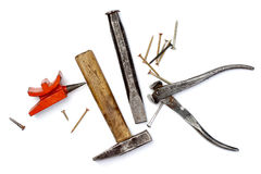 Vintage work tools on white background Stock Images