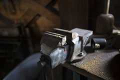 Vintage Workbench with an old vice Royalty Free Stock Photos
