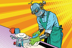 Vintage worker robot washes dishes. Pop art retro vector illustration. Homework and cleaning service Royalty Free Stock Images