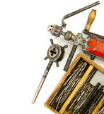 Vintage working tools ( drill and more) on white Royalty Free Stock Images
